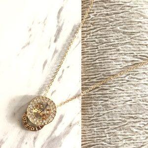 I love You Rhinestone Pendant Gold Necklace